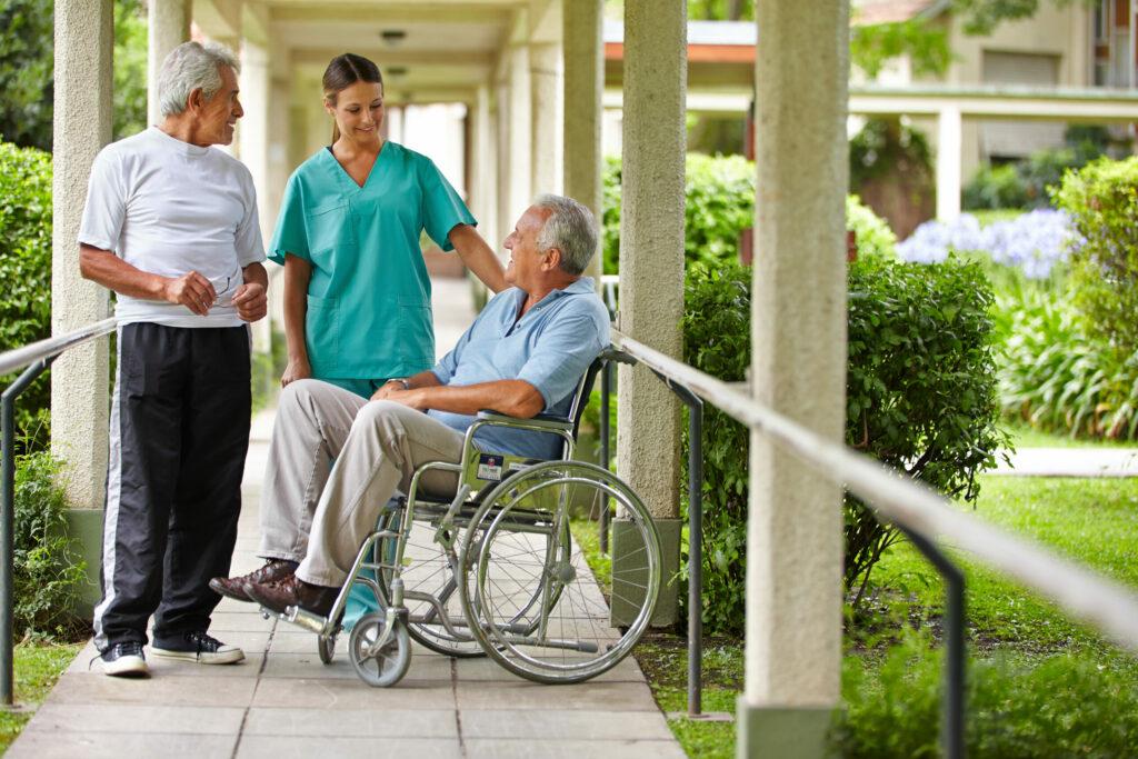caregiver talking to