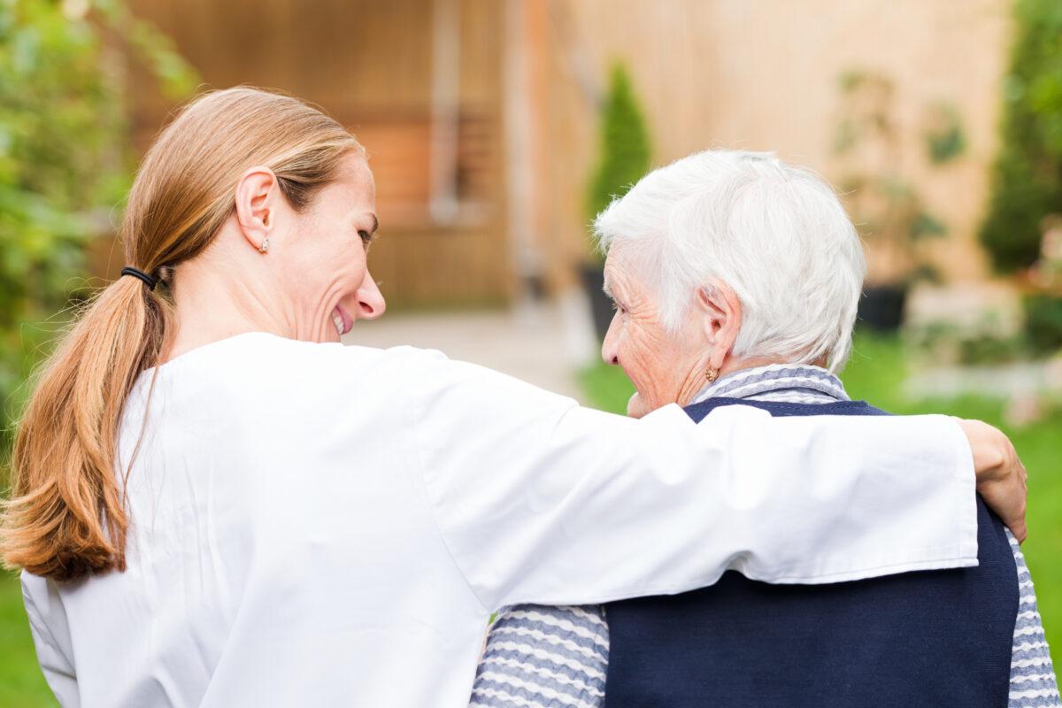 caregiver accompanying elderly