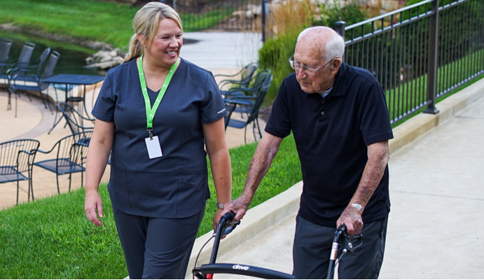 caregiver accompanying senior