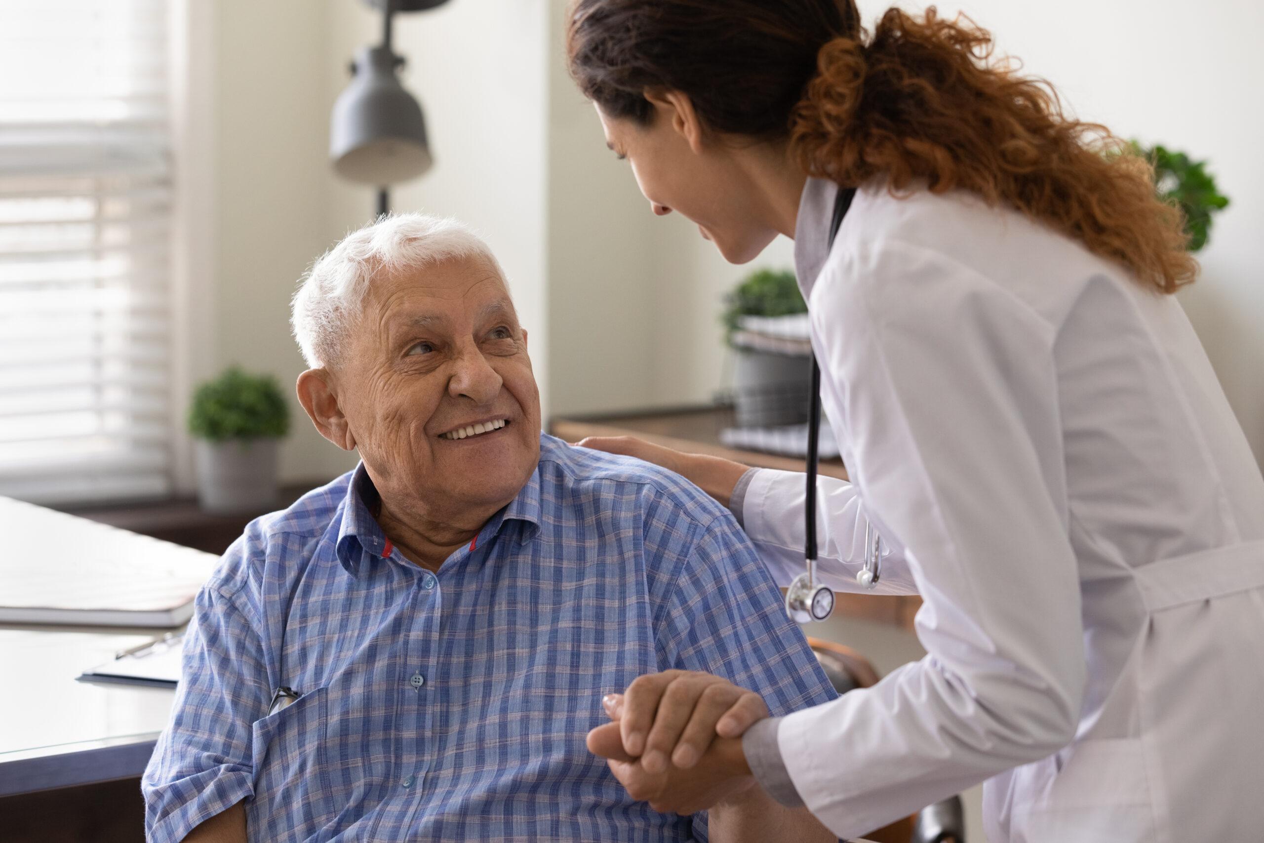 nurse holding smiling