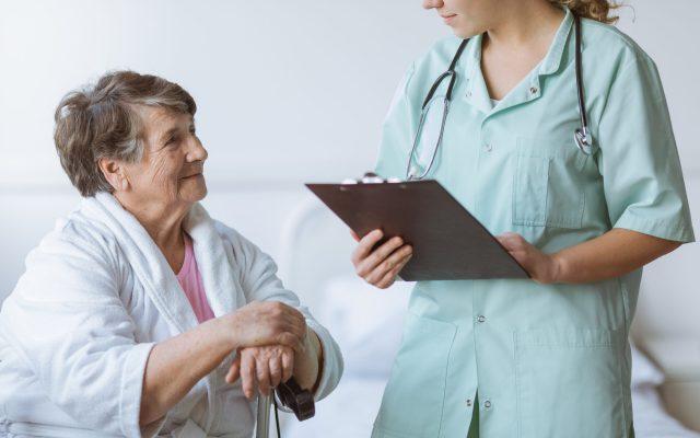 young caregiver conversating
